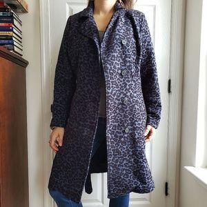 Isaac Mizrahi LIVE Blue Cheetah Woven Coat Belted